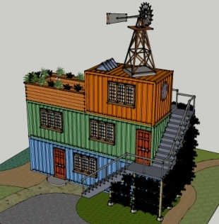 Stacked container building with windmill