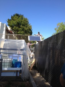 Interns installing a solar panel for the off-grid aquaponics system