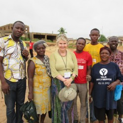 Godfred, Ruth, Alrie, James, Elorm, community member,Rev.Maxwell (left to right)