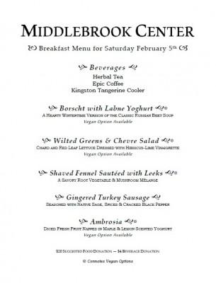 Breakfast Menu for Saturday February 5th - 2015